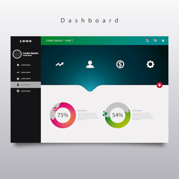 Dashboard Template With Diagrams Vector Free Download - Company dashboard template free