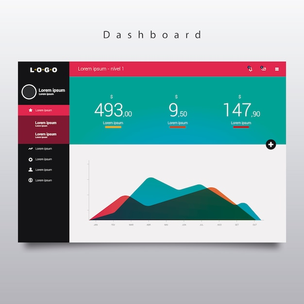 dashboard template with graphic vector free download
