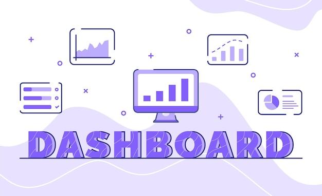 アウトラインスタイルのアイコン統計チャートモニターのダッシュボードタイポグラフィワードアートの背景 Premiumベクター