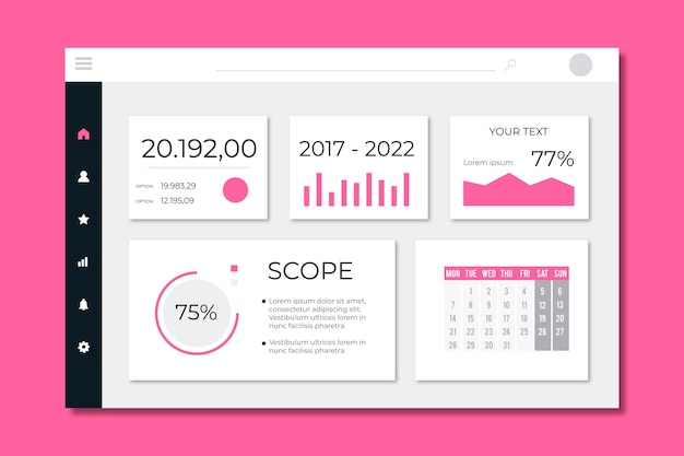 Dashboard user panel template Free Vector