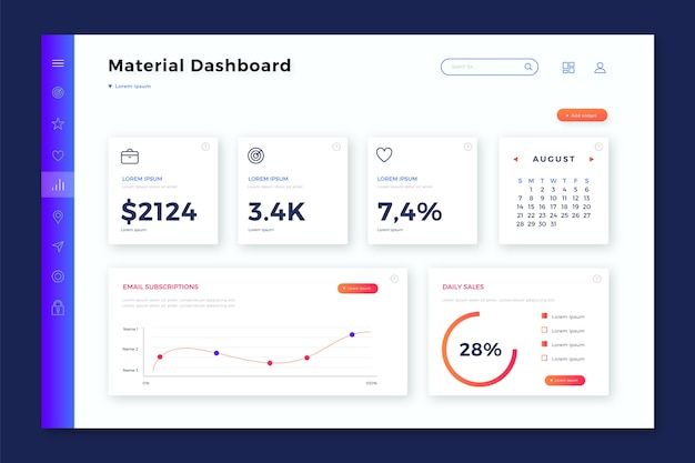 Dashboard user panel with data Free Vector
