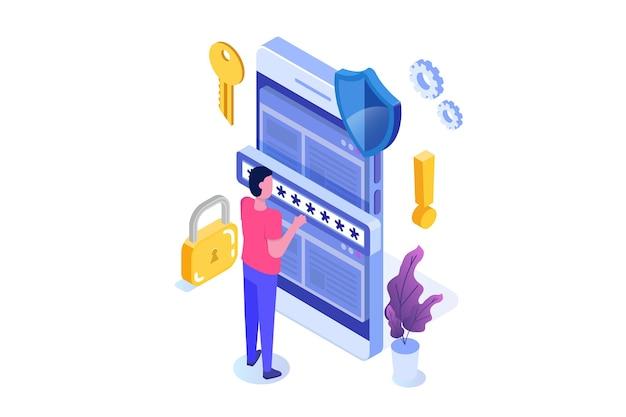 Data access, password isometric concept. login form on screen. Premium Vector