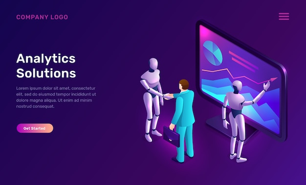 Data analysis or analytics solutions isometric Free Vector