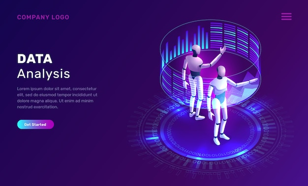Data analysis, artificial intelligence isometric Free Vector