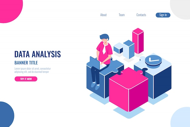 Data analysis, banner title Free Vector