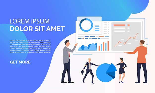 Data analysis blue presentation illustration Free Vector