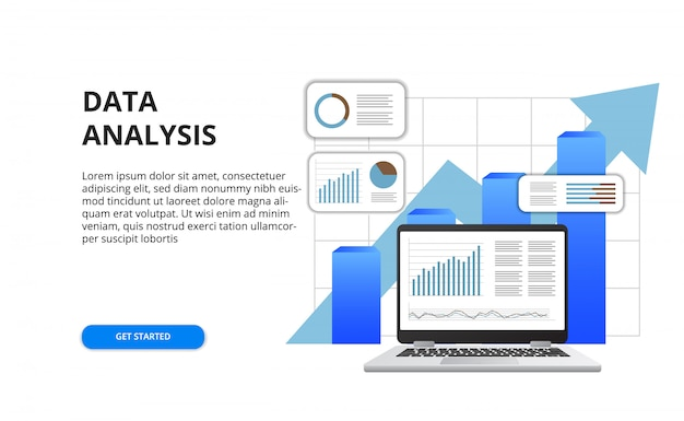 Data analysis for business finance report concept with illustration of 3d laptop and graph Premium Vector