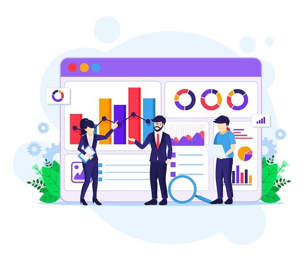 Концепция анализа данных, люди работают перед большим экраном. аудит, финансовый консалтинг иллюстрация Premium векторы