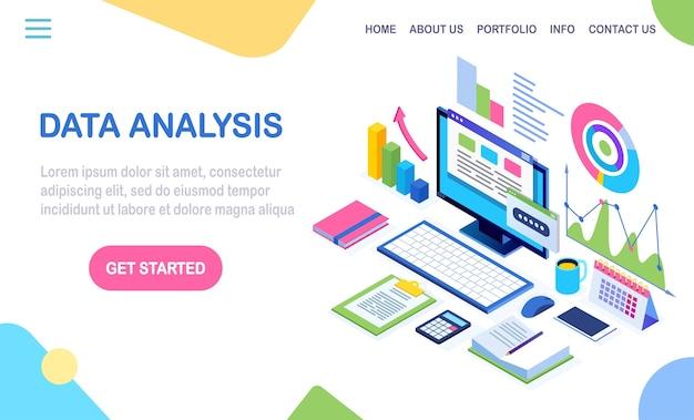 データ分析。デジタル財務報告、seo、マーケティング。ビジネス管理、開発。等尺性のラップトップ、コンピューター、グラフ、チャート、統計とpc。ウェブサイト用 Premiumベクター