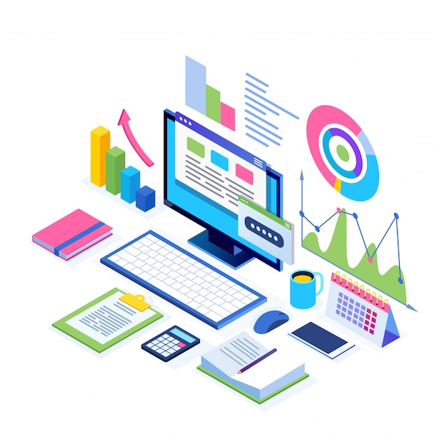 Data analysis. digital financial reporting, seo, marketing. business management, development.  isometric laptop, computer, pc with graph, chart, statistic.   for website Premium Vector
