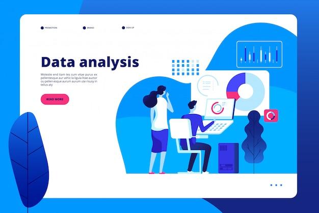 データ分析。ノートパソコンのランディングページを持つデジタルインタラクティブオフィスビジネスマーケティング処理プロのパーソナルアナリスト Premiumベクター