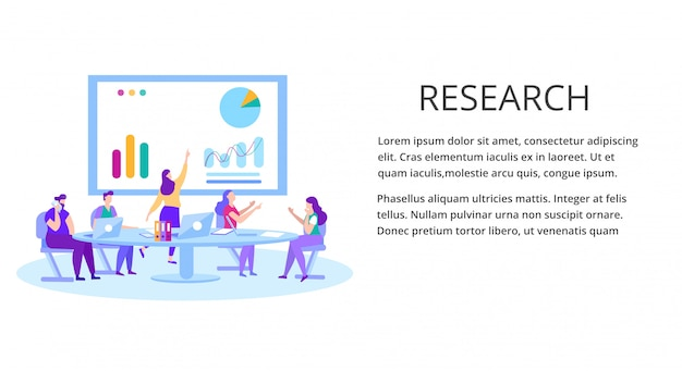 Data analysis financial research landing page template Premium Vector