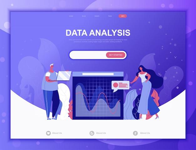 Data analysis flat concept, landing page web template Premium Vector