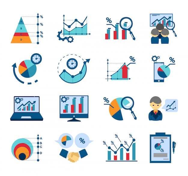 Data analysis flat icons collection Free Vector