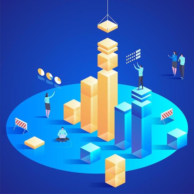 ウェブサイトとモバイルウェブサイトのデータ分析。編集とカスタマイズが簡単です。モダンなデザインの等尺性の概念図 Premiumベクター