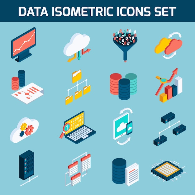Data analysis icons Free Vector