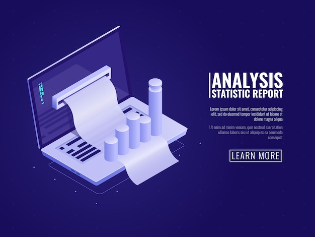Data analysis and information statistics, business management, business data order Free Vector