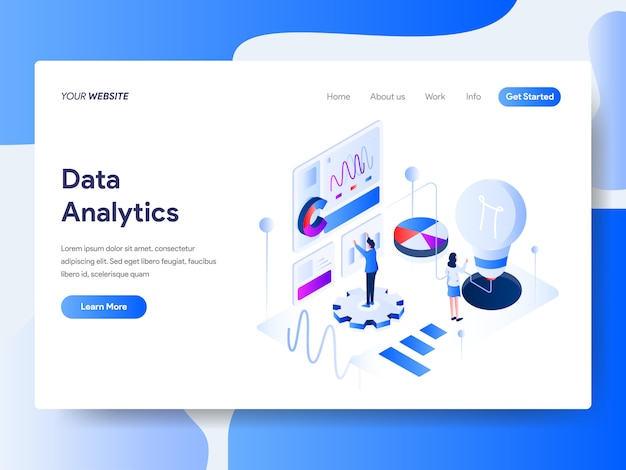 Data analysis isometric for website page Premium Vector