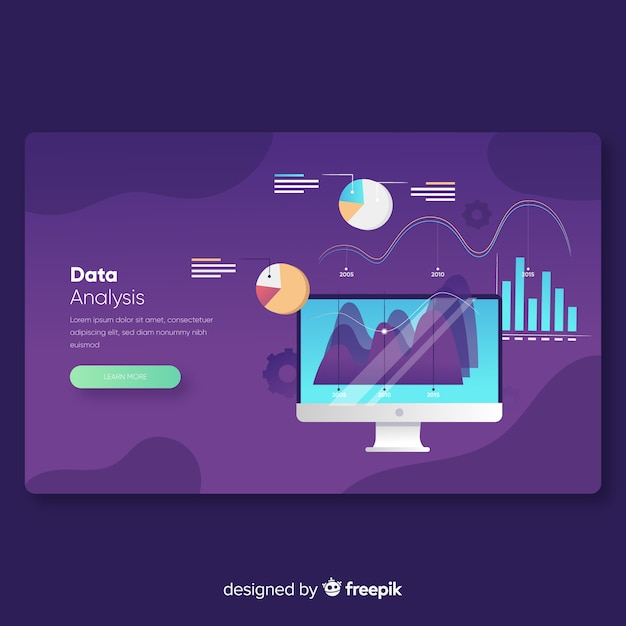 Data analysis landing page template Free Vector
