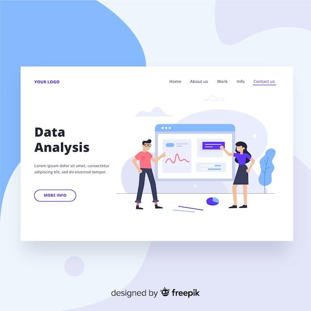 Data analysis landing page Free Vector