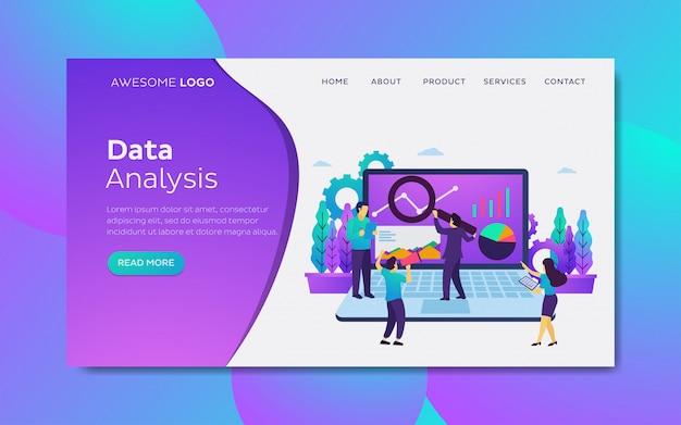 Data analysis modern flat design concept landing page template Premium Vector