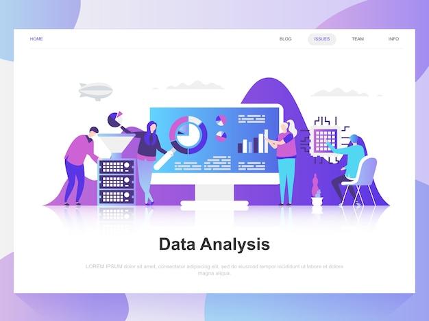 Data analysis modern flat design concept. Premium Vector