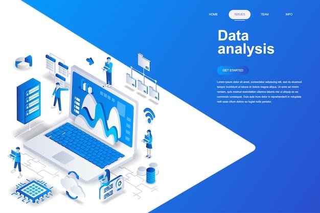 Data analysis modern flat design isometric concept. Premium Vector