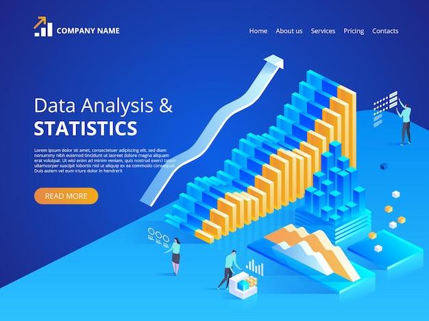 데이터 분석. 온라인 통계. 방문 페이지, 웹 디자인, 배너 및 프리젠 테이션을위한 아이소 메트릭 그림. 프리미엄 벡터