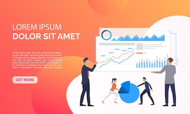 Data analysis orange presentation illustration Free Vector