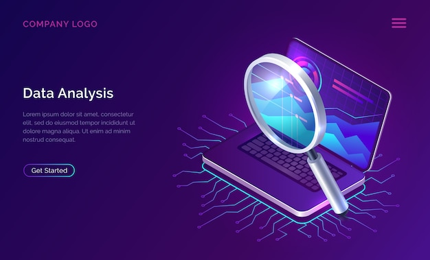 Data analysis search engine optimization isometric Free Vector