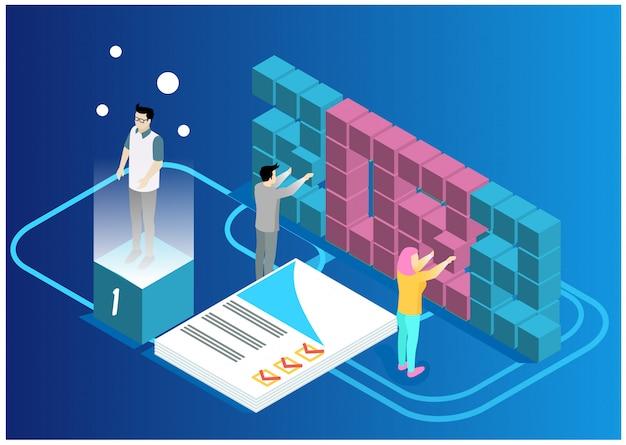Data analysis and statistics concept. Premium Vector