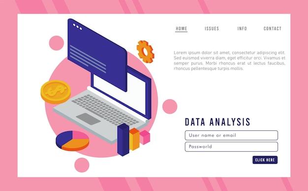 Технология анализа данных с портативным компьютером и шаблоном веб-страницы. Premium векторы