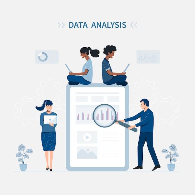 Data analysis vector illustration concept. Premium Vector