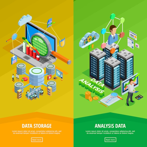 Data analysis vertical isometric banners Free Vector