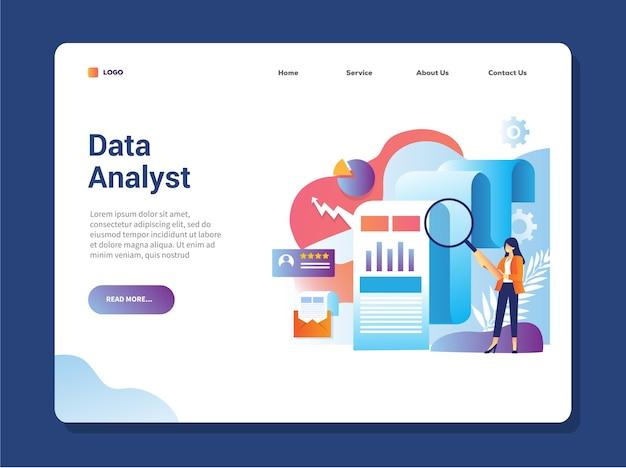データアナリストのランディングページ Premiumベクター