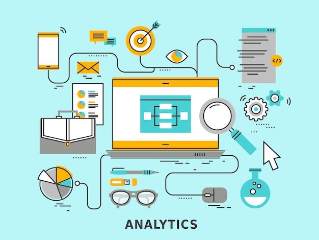Data analytics concept in   style Premium Vector