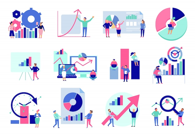 Data analytics diagrams graphic results presentation analysis tools techniques decision making flat icons collection isolated Free Vector