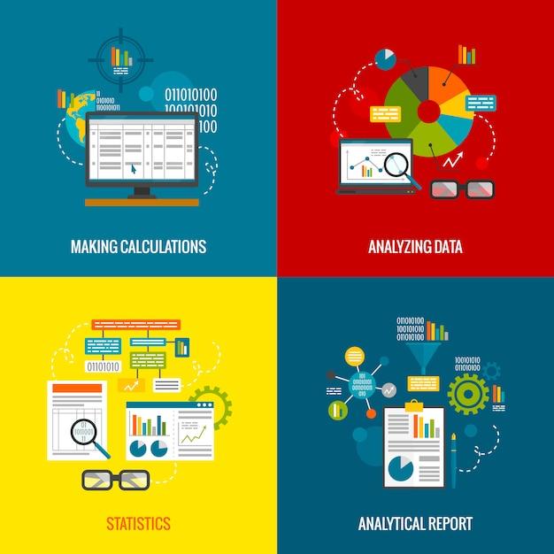 Data analytics flat set Free Vector