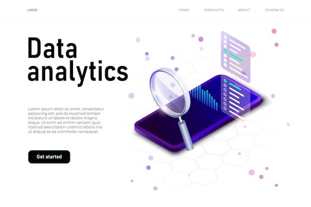 Иллюстрация аналитики данных с изометрическим реалистичным смартфоном и большой доской данных, большим увеличителем Premium векторы