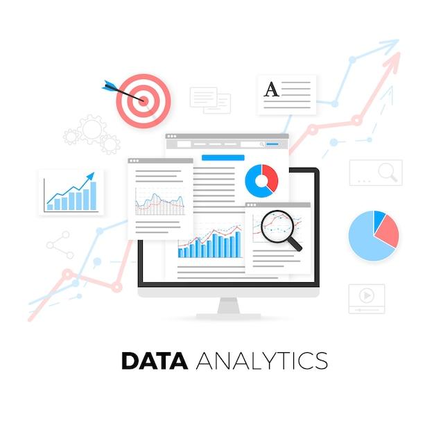 Data analytics information and web development website statistic. Premium Vector