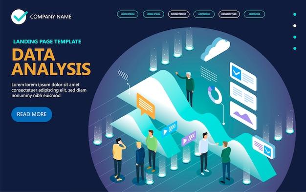 データ分析アイソメトリックコンセプトバナー Premiumベクター