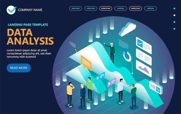 데이터 분석 아이소 메트릭 벡터 개념 배너, Businessmans, 바탕 화면, 그래프, 통계, 아이콘. 3d 등각 투영 평면 디자인. 벡터 일러스트 레이 션 프리미엄 벡터