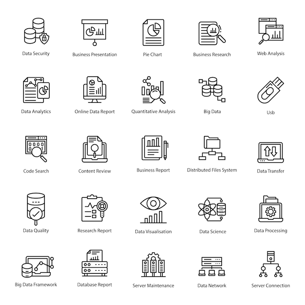 Data analytics line icons pack Premium Vector