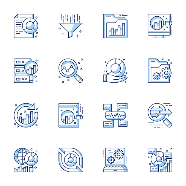 Data analytics linear vector icons set. Premium Vector