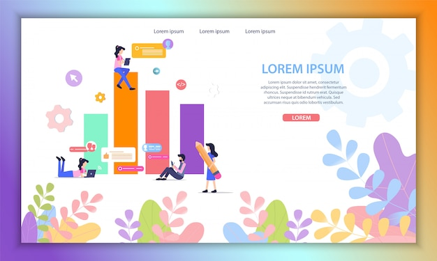 Data analytics online service flat vector website Premium Vector
