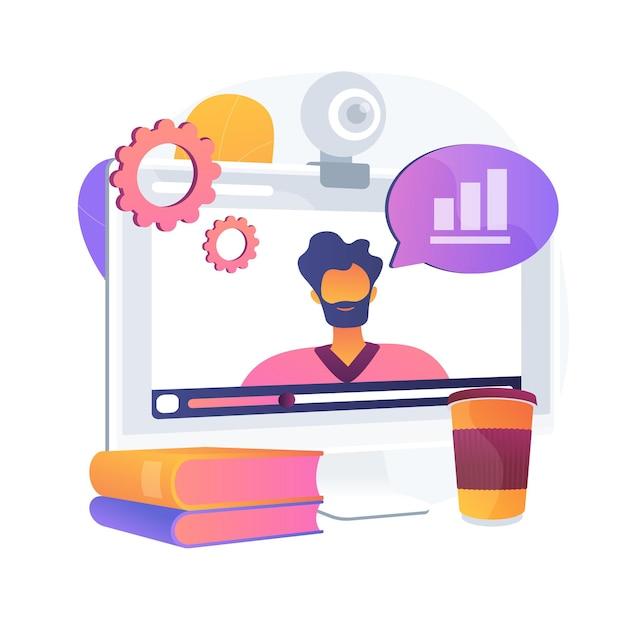 データ分析オンラインビデオチュートリアル。統計インターネットプレゼンテーション、ビジネス開発コース、ウェビナー。ビジネス分析企業セミナー。 無料ベクター