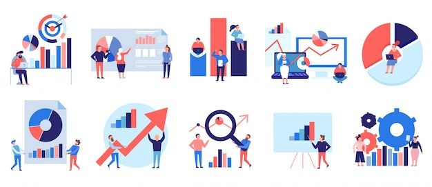Data analytics tools techniques diagrams graphics symbols presentation analysis strategy colorful flat elements set isolated Free Vector
