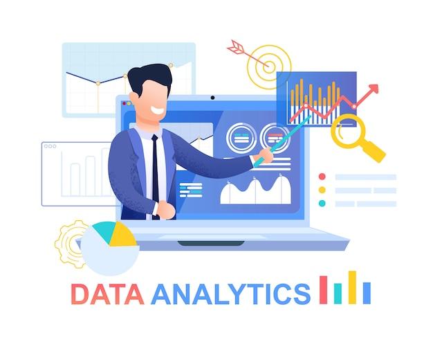 Data analytics. young businessman in blue suit. Premium Vector