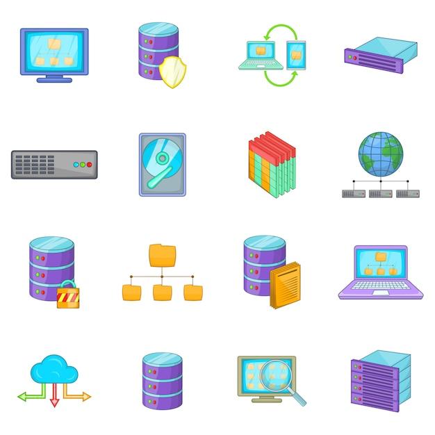 Data base icons set Premium Vector