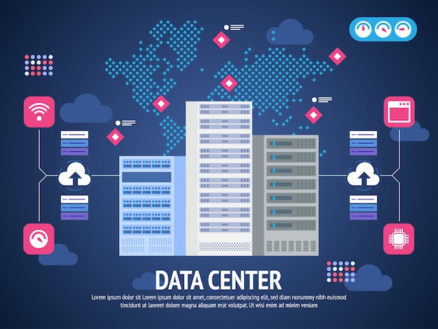Data center cloud computer connection hosting server database synchronize technology Premium Vector